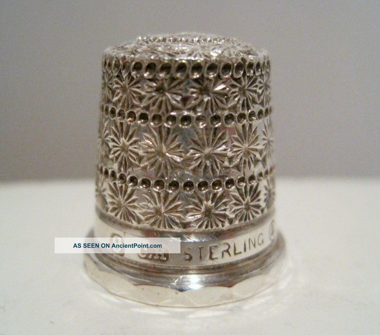 Rare Charles Horner 9 Sterling Silver Triple Daisy Band Tall Hat Thimble C1910 Thimbles photo