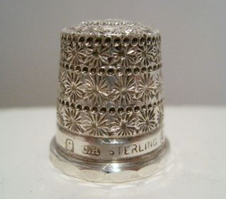 Rare Charles Horner 9 Sterling Silver Triple Daisy Band Tall Hat Thimble C1910 photo
