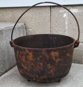 Antique Primitive Cast Iron Favorite Piqua Ware 8 Footed Pot Cauldron Planter photo