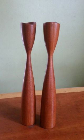 Vintage Danish Modern Teak Wood Turned Candlesticks Candle Holders Mcm photo