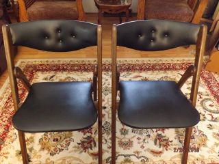 2 Mid Century Modern Coronet Norquist Folding Chairs Style 220 Black & Wood 2 photo
