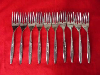 (10) Dinner Forks Oneida Community Silver Plate Enchantment Gentle Rose photo