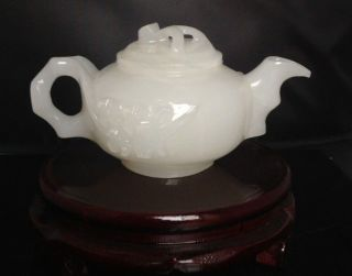 100 Natural Afghanistan Jade Hand - Carved Teapot & Lid W Flower Gd4154 photo