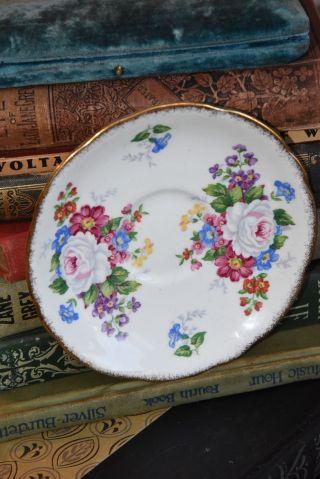 Tea Cup Saucer Royal Stafford England Vintage Porcelain Gold Gilt Cabbage Roses photo