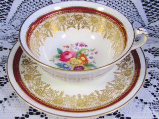 Coalport Red Band Hp Floral Fancy Gold Gilt Tea Cup And Saucer photo