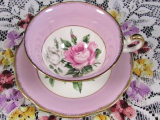 Foley Pink Roses Heavy Gold Lavender Band Tea Cup And Saucer photo