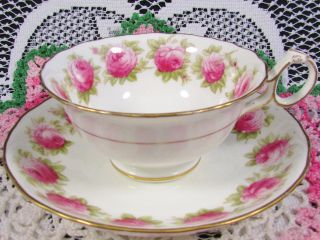 Cauldon Hand Painted Pink Ring Of Roses Tea Cup And Saucer photo