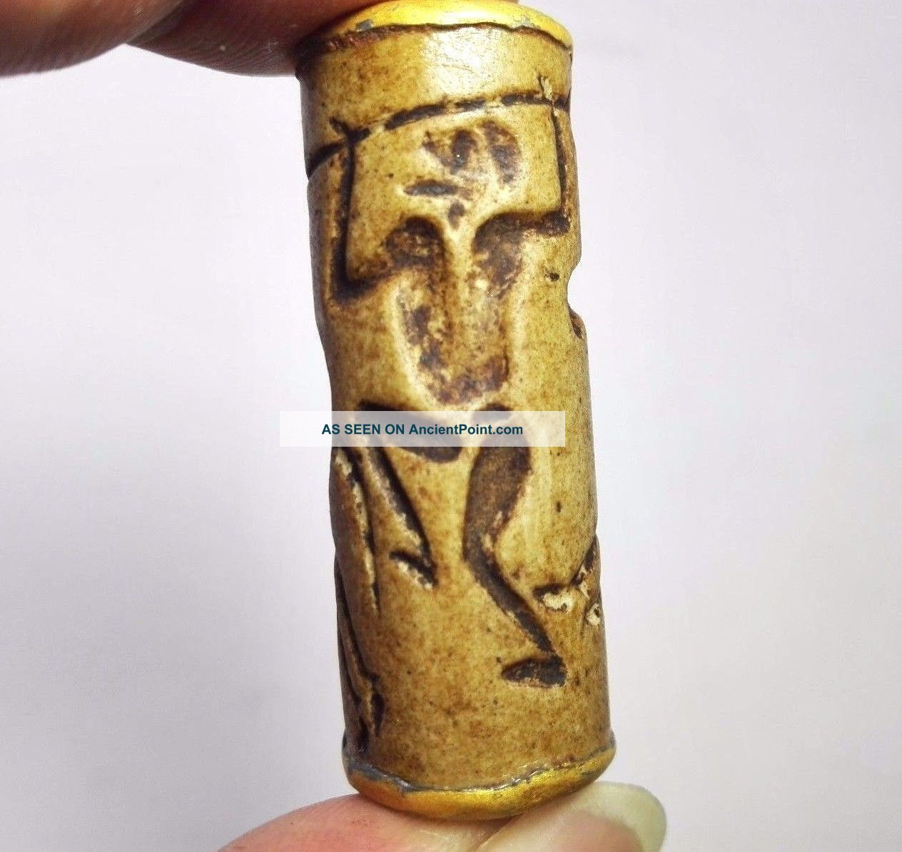 Stunning Unique Old Intaglio Bactrian Calinder Seal Stone Bead Carving 43x16mm Near Eastern photo