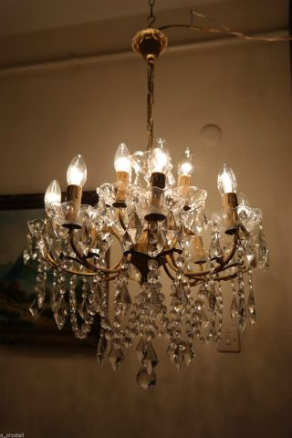 Antique Vintage French Huge 8 Arms Crystal Chandelier Lamp Light 1950 ' S 22 In photo