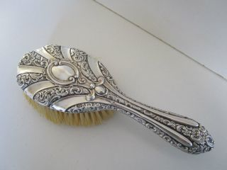 Sterling Silver Hair Brush.  Embossed.  Hallmarked Birmingham 1901. photo
