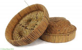 Kuba Basket Small Tan Handwoven Congo African Art Was $75 photo
