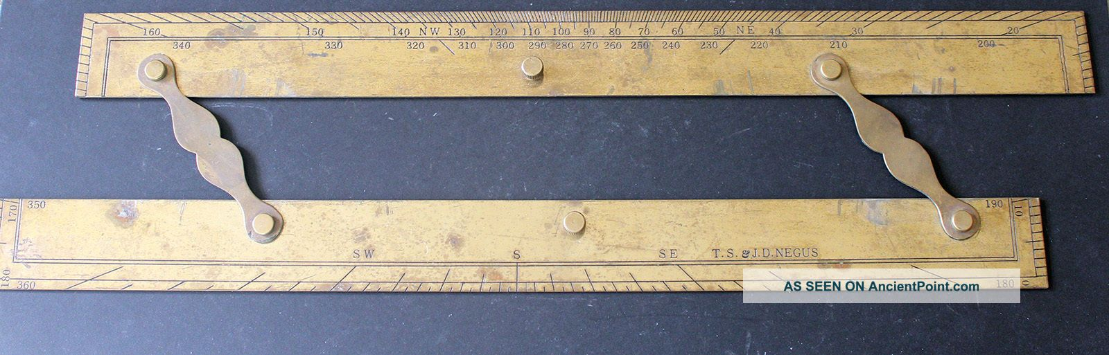 Vintage Brass T.  S.  & J.  D.  Negus 18 - Inch Parallel Rule Parallel Rules photo