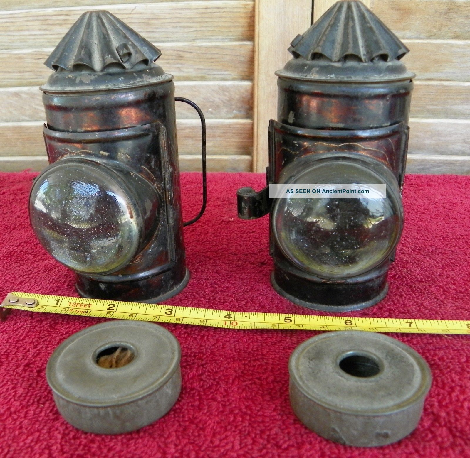Vintage Pair 5inch Early Boat Ship Nautical Railroad Police Signal Lamp Lantern Lamps & Lighting photo