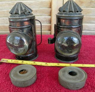 Vintage Pair 5inch Early Boat Ship Nautical Railroad Police Signal Lamp Lantern photo