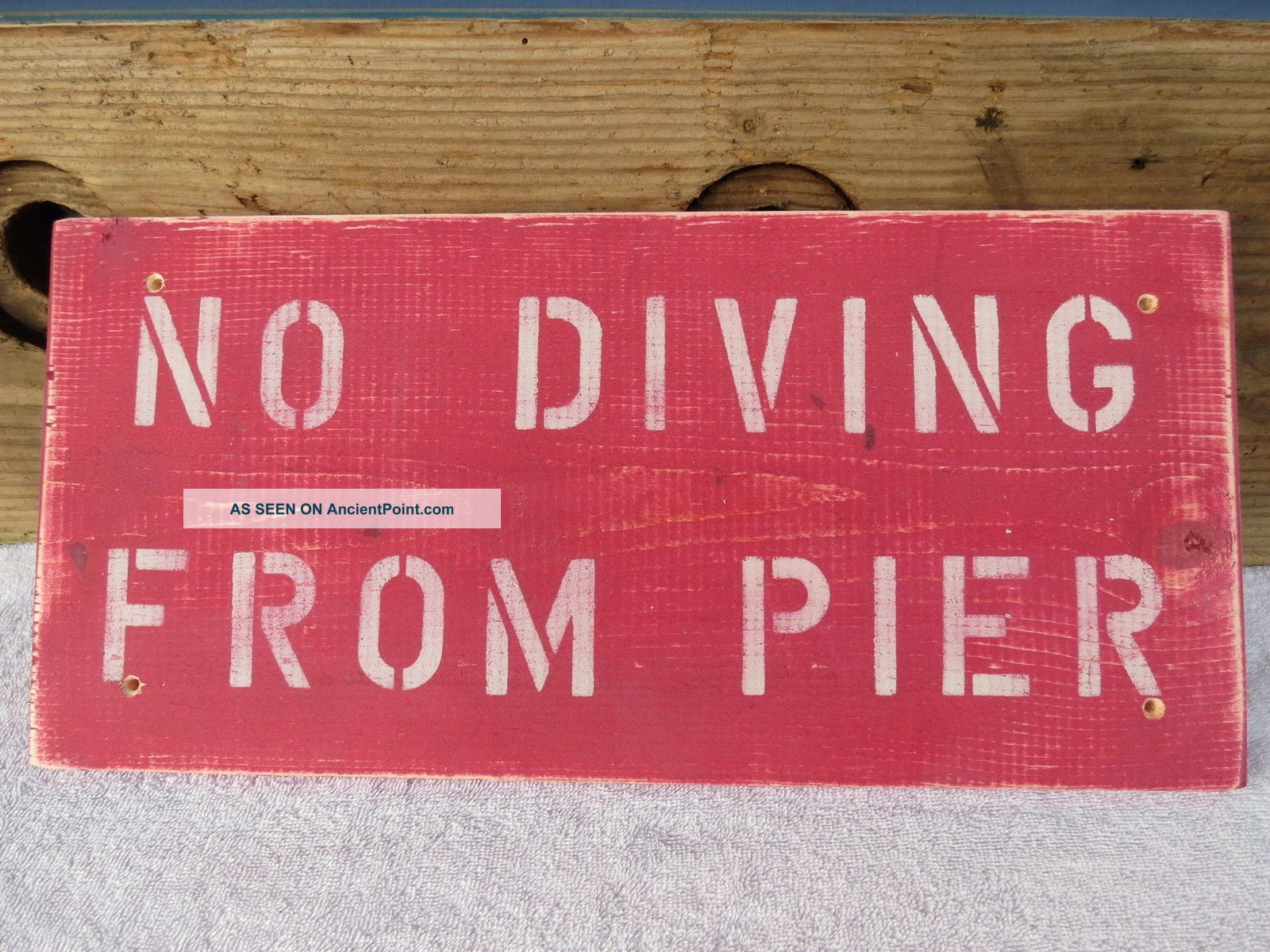 18 Inch Wood No Diving From Pier Hand Made Sign Nautical Seafood (s445) Plaques & Signs photo