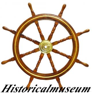 36inch Nautical Ship Wheel With Brass Ring  By Historicalmuseum photo