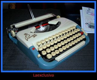 Fabulous Princess Typewriter Of 1950s Blue,  Cream - (video Inside) photo