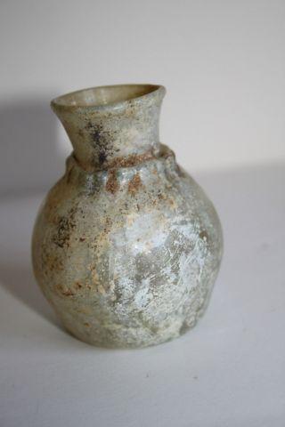 Ancient Roman Glass Flask 2/3rd Century Ad photo
