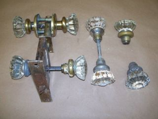 4 Glass Door Knobs And 2 Locks Brass Ends Some Nr photo