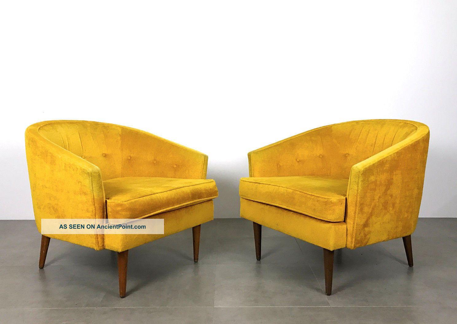 Pair Vintage Mid Century Modern Barrel Back Lounge Chairs Peabody,  Baughman Era Post-1950 photo