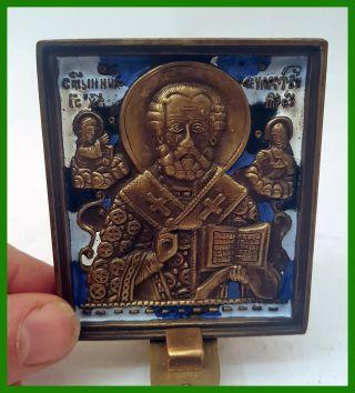 Russia Orthodox Bronze Icon Saint Nicholas Chudotvorets (wonder - Worke.  Enameled. photo