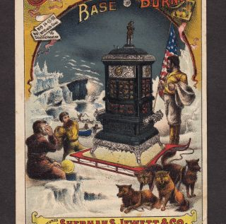 Arctic Exploration 1800 ' S Jewett Base Burner Stove Eskimo Dog Advertising Card photo