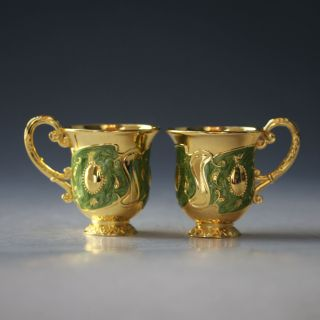 Chinese Cloisonne Handwork Carved Flower Pair Goblet /cup X0014 photo