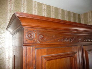 American Black Walnut Armoire Wardrobe Victorian East Lake 7 ' H Carved 1800s photo