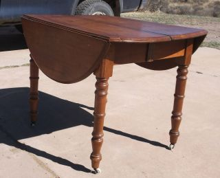 Old - Antique Oval Victorian Walnut Kitchen Dining Table - 19th Century 1800s photo