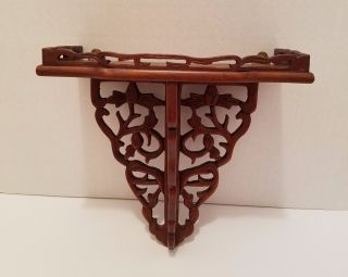 Vintage Victorian Clock Shelf Carved Knick Knack Wood Hanging photo