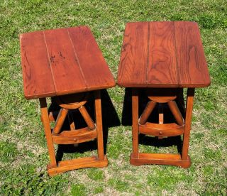 Vintage Brandt Oak Wagon Wheel Rustic Western End Tables Side Tables photo