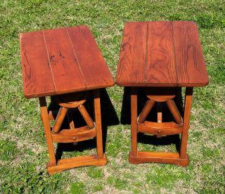 Vintage Brandt Oak Wagon Wheel Rustic Western End Tables Side Tables photo