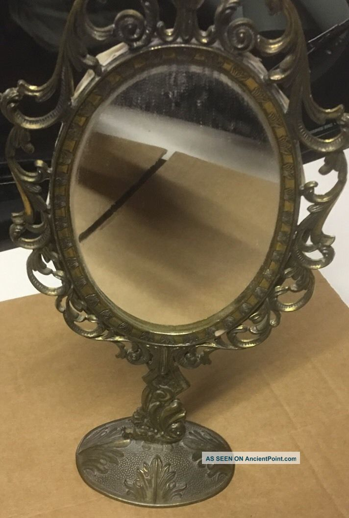 Vintage Ornate Italian Brass Vanity/dressing Table Mirror 20th Century photo