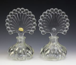 Continental Crystal Perfume Bottles,  Vintage Fluted Fan Form Design photo