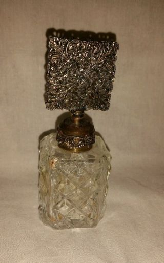 Vintage Irice Perfume Bottle Filigree Dauber photo