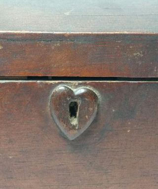 Antique Primitive Folk Art Domed Wood Box W Heart Lock Plate,  Made W Cigar Boxes photo