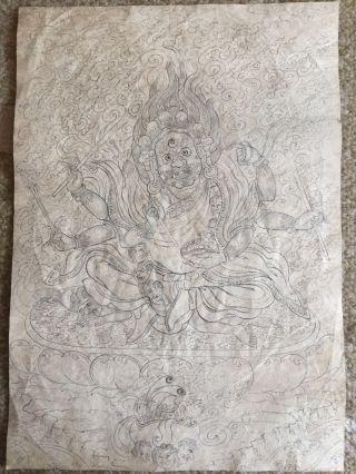 Mongolian Buddhist Old Hand Paint 18 - 19 Century photo
