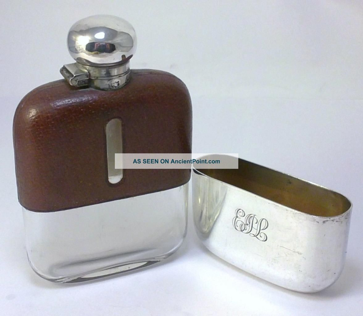 Antique Hallmarked Silver Plate & Leather Clad 110ml (4 Fl Oz) Hip Flask – C1920 Other Antique Silverplate photo