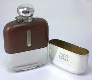 Antique Hallmarked Silver Plate & Leather Clad 110ml (4 Fl Oz) Hip Flask – C1920 photo