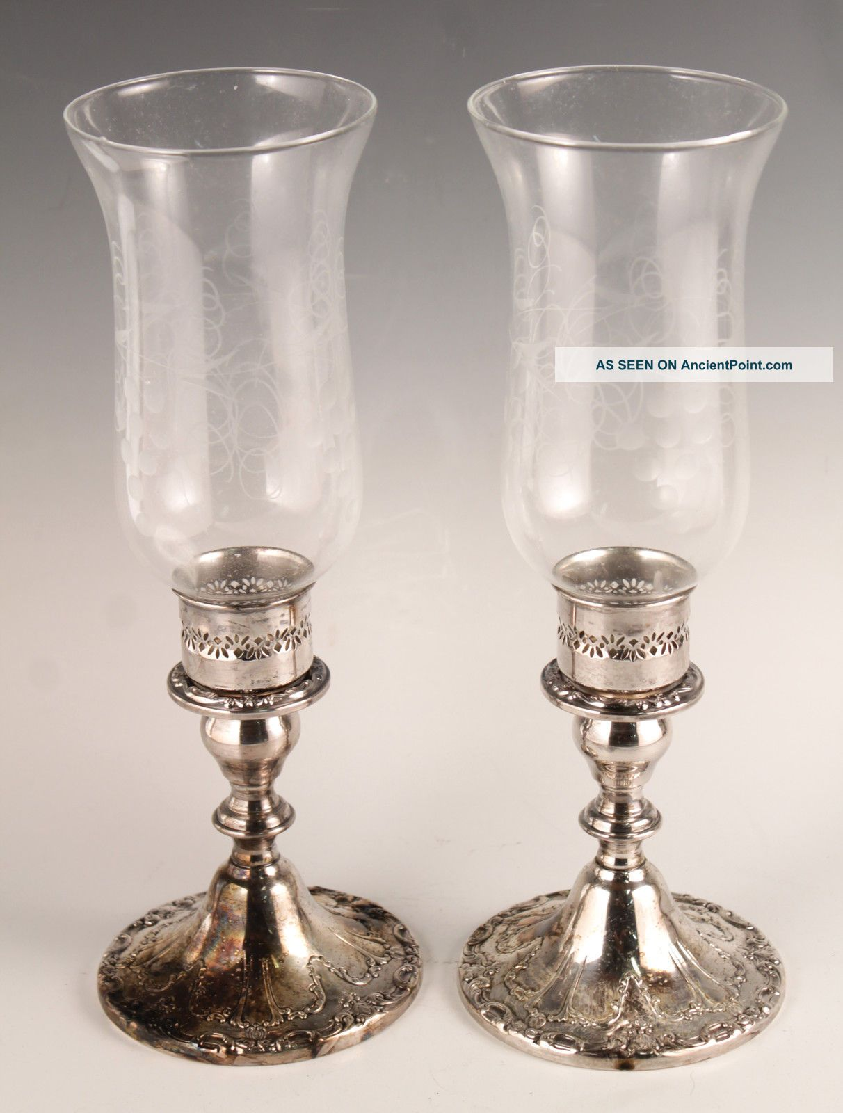 1950s - 60s Gorham Ornate Pair Silver Sp Etched Art Glass Hurricane Candle Holders Candlesticks & Candelabra photo