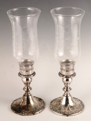 1950s - 60s Gorham Ornate Pair Silver Sp Etched Art Glass Hurricane Candle Holders photo