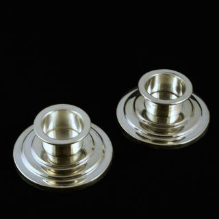 A Danish Art Deco Silver Candle Holders. photo