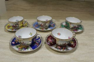 Unique 5 Hand Painted In Saxony Dresden Epiag Czech Porcelain Cups & Saucers photo