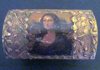 Vintage Italian Florentine Gilt Wood Mona Lisa Stamp Box photo