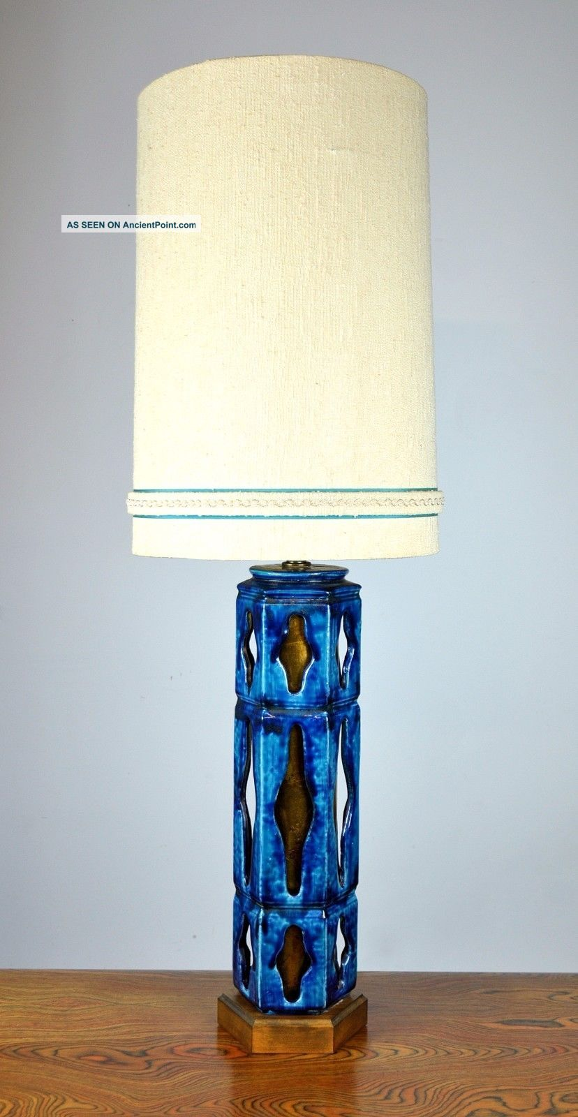 Image of: Monumental Mid Century Blue Art Pottery Table Lamp 1950s Danish Modern