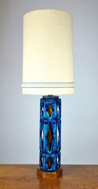 Monumental Mid - Century Blue Art Pottery Table Lamp 1950s Danish Modern photo