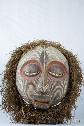 Luba Kifwebe Round African Mask - Congo Drc Art photo