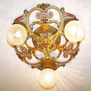 894 Vintage 20s 30s Ceiling Light Lamp Fixture Hall Bedroom 3 Lights Polychrome photo