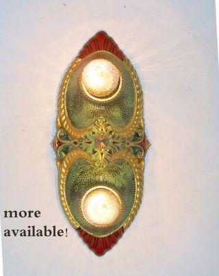 107b Vintage 10 ' S 20 ' S Art Nouveau Ceiling Light Fixture Polychrome Sconce ? photo