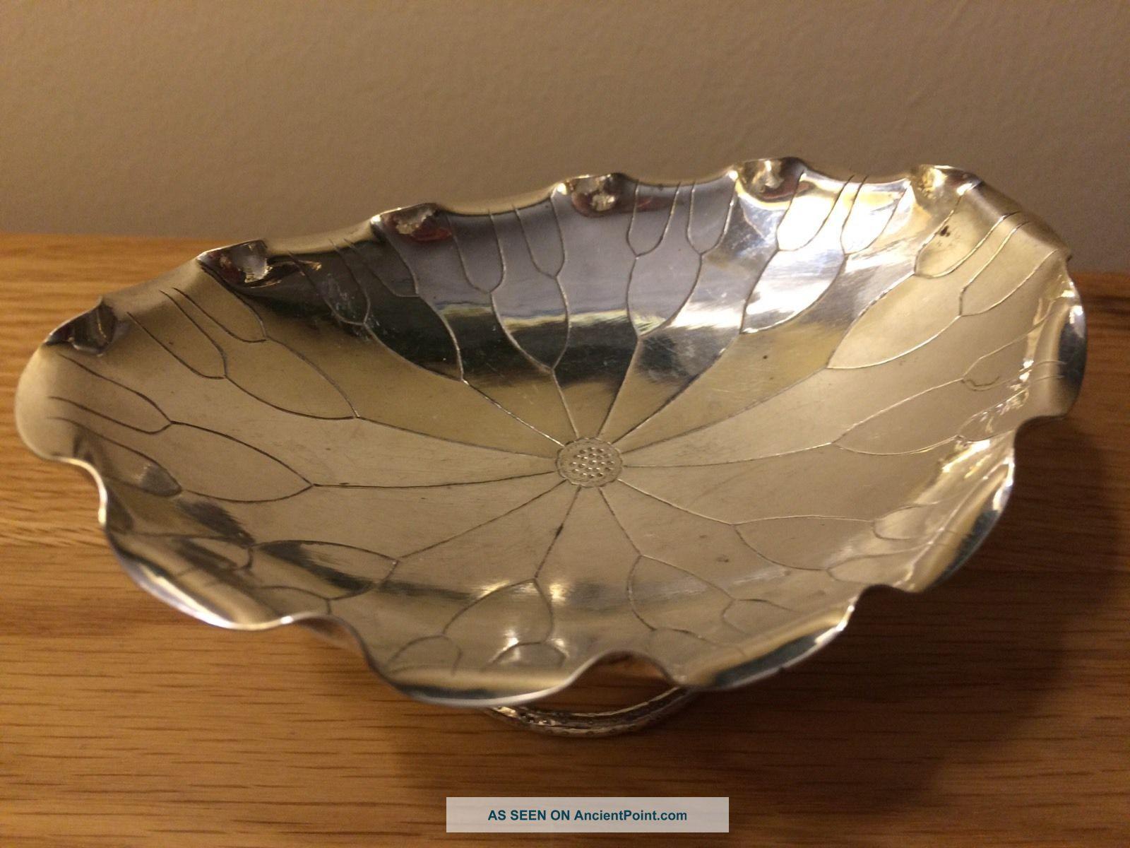 Stunning Antique Chinese Export Silver Lotus Flower Bowl Kwong Man Shing C 1900 Bowls photo